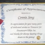 Song honored by downtown group