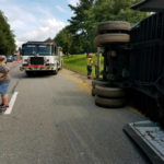 Tractor-trailer overturned slowing traffic on I-77 South near Surry-Yadkin line